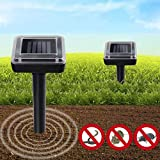 4. XMSTORE Mole Repellent, Upgrade 2 Pack Solar Powered and Ultrasonic Gopher/Rodent/Vole Repellent