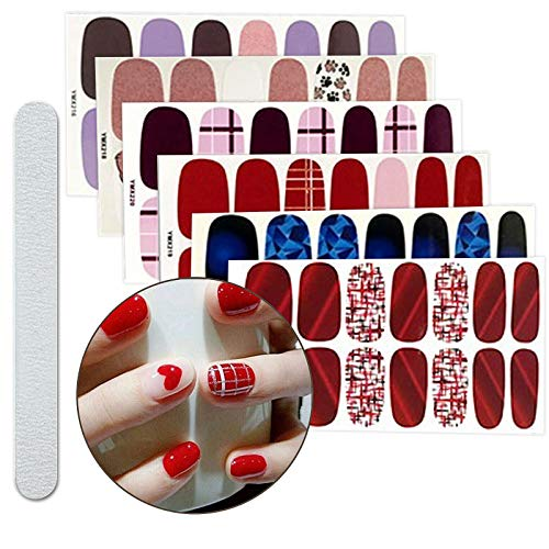 6 Sheets Full Nail Art Polish Stickers Strips Self-Ashesive False Nail Design Manicure Set With 1Pc Nail Buffers Files
