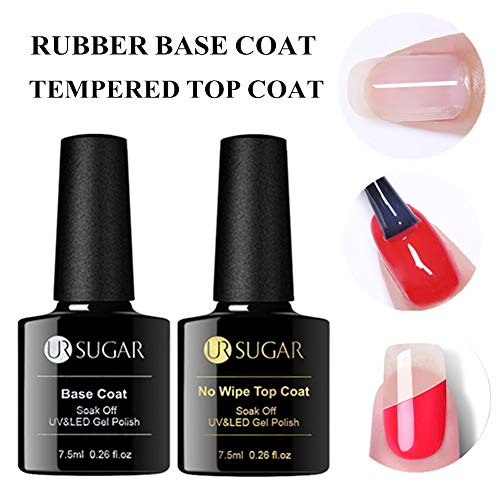 UR SUGAR 7.5ml Top Coat and Base Coat Set, Rubber Base Coat & Tempered No Wipe Top Coat, Brighter and Stronger for Gel Nail Polish Crystal Clear Finish, UV LED Gel Nail Kit -
