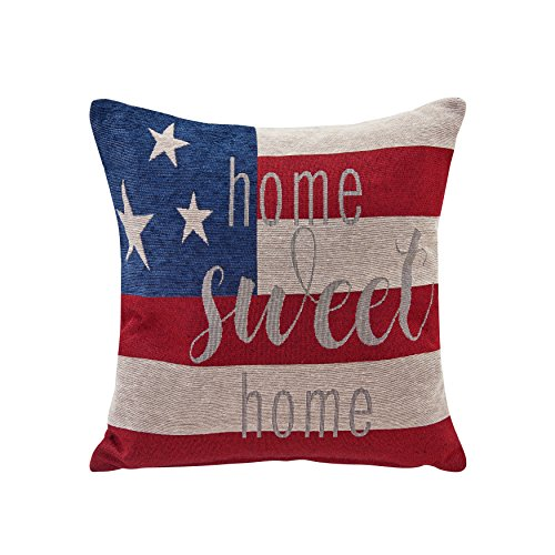 (Danya B US Flag Home Sweet Home Cotton Jacquard Printed Decorative Toss Throw Accent)