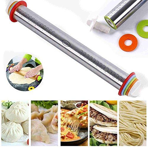 Delaman Rolling Pin Spacers French Baking Adjustable Tool with Thickness Rings Dough Roller for Homemade Bread Cookie Pastry Pizza