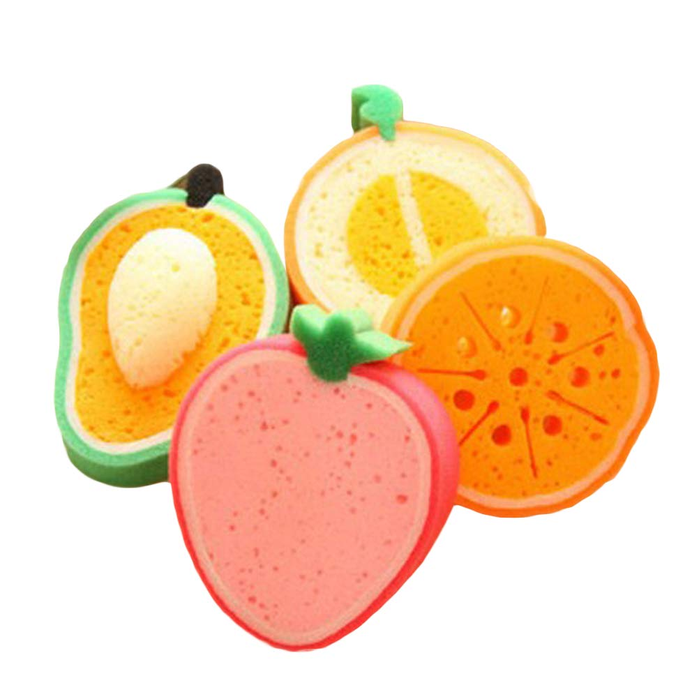 SUPVOX 4PCS Fruit Shape Bath Sponge Brushes Shower Scrubbers Bathing Tool for Kids Children (Mango/Honey-Dew Melon/Orange / Strawberry)