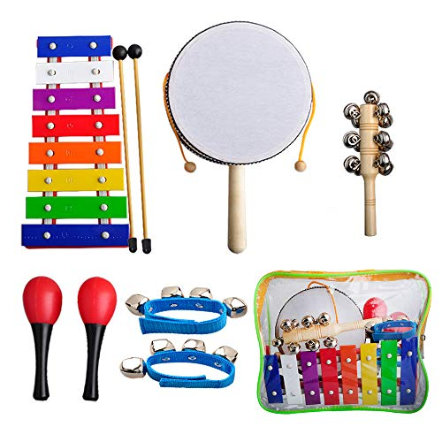 Baby Musical Instruments,Gimilife Xylophone,Rattle,Maracas,Sleigh Bell,Wrist Bells Percussion Toy Rhythm Band Set Instrument Enlighten Toy for Children Toddlers with Free Carrying Bag