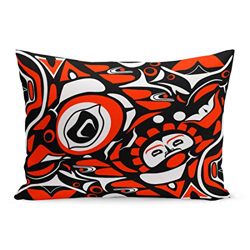 (Semtomn Throw Pillow Covers Canadian Abstract Red Native North American Pattern Indigenous Tribal Pillow Case Cushion Cover Lumbar Pillowcase Decoration for Couch Sofa Bedding Car 20 x 30 inchs)