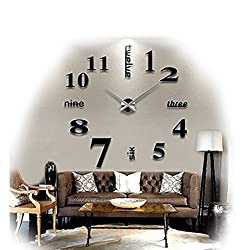 Modern Frameless Large 3D DIY Wall Clock Kit Decoration Home for Living Room Bedroom (black)
