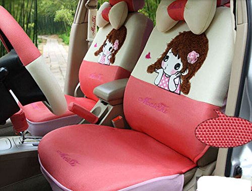 18pcs Summer British Silk Women Cartoon Car Seat Cover Fit Five Seat Car Four Seasons Seat Cover by Maimai88