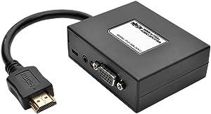 Tripp Lite 2-Port HDMI to VGA Splitter (M/2F), Audio/Video Adapter, HDMI to HD15, 1080p (P131-06N-2VA-U)