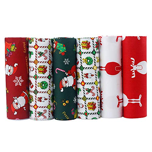 Shuan Shuo Xmas Fat Quarters Bundles Cotton Patchwork Fabric Sewing for DIY Crafts Bedding Bags Doll Dress 40X50cm 6Pcs/lot]()