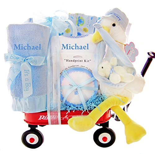 Personalized Welcome Wagon (Personalized Stork Delivery Baby Boy Gift Set in a Miniature Radio Flyer Wagon)