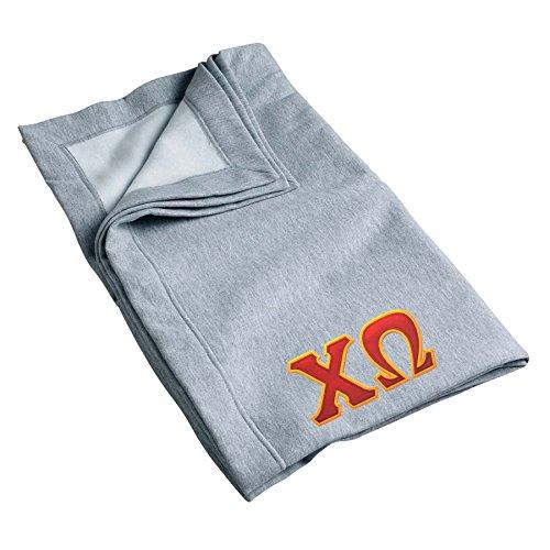 Greek Sewn On Letters - Chi Omega Sweatshirt Blanket with Twill Greek Letters (Grey)