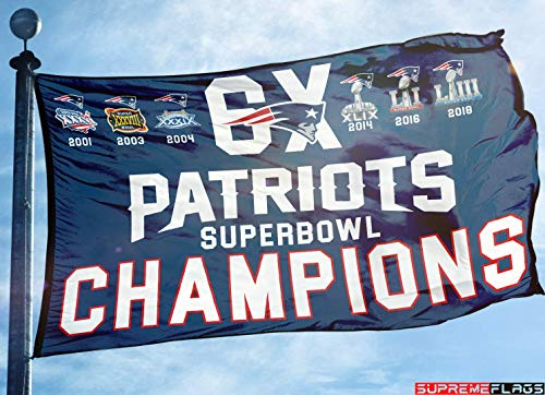 New England Patriots Flag 3x5 ft Banner 6X Times Super Bowl Champions Blue]()
