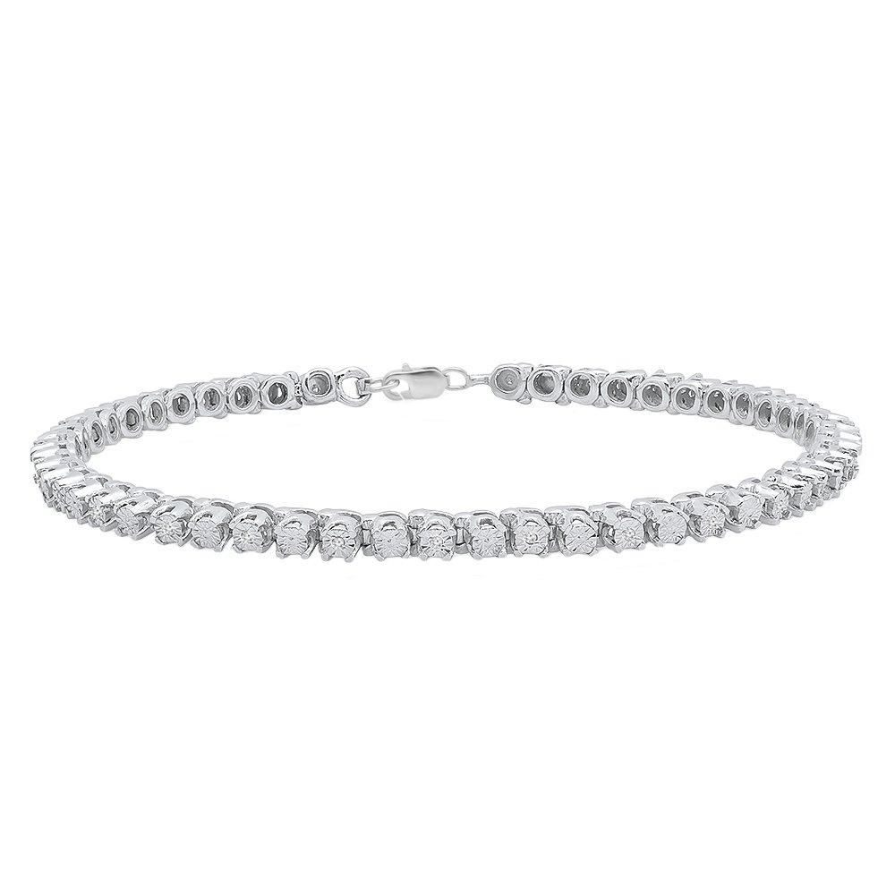 0.10 Carat (ctw) Sterling Silver Round Cut White Diamond Ladies Tennis Bracelet 1/10 CT