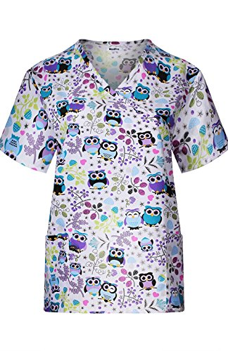 MedPro Women's Medical Scrub Set with Printed Wrap Top and Cargo Pants Purple Grey XL by MedPro (Image #2)