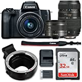 Canon EOS M50 Mirrorless Digital Camera (Black) Bundle w/Canon EF-M 15-45mm IS STM & Tamron 70-300mm Di LD Lenses + Auto (EF/EF-S to EF-M) Mount Adapter + Basic Camera Kit