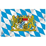 Anley Fly Breeze 3x5 Foot Bavaria with Lions Flag - Vivid Color and UV Fade Resistant - Canvas Header and Double Stitched - Bavarian Lion Crest Flags Polyester with Brass Grommets