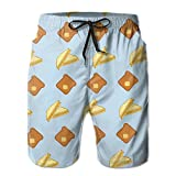 Mens Grilled Cheese Quick-Dry Lightweight Fashion Board Shorts Swim Trunks L
