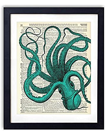 d38dd719602a Blue Octopus Upcycled Vintage Dictionary Art Print 8x10