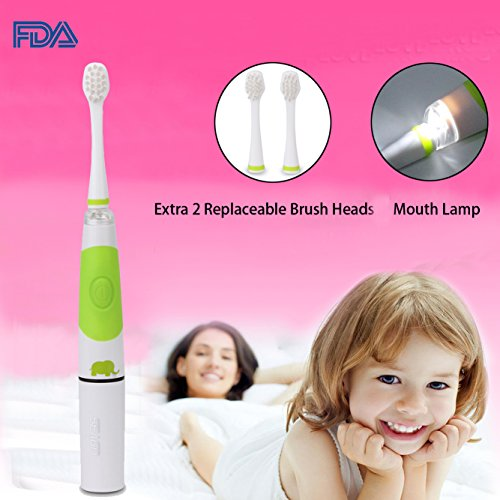 Children Sonic Electric Toothbrush LED Light Kids Sonic Toothbrush Smart Reminder Baby Toothbrush 618 Toddler Toothbrush with Extra 2 Replaceable Brush Heads for 3-14 Kid (Light Green)