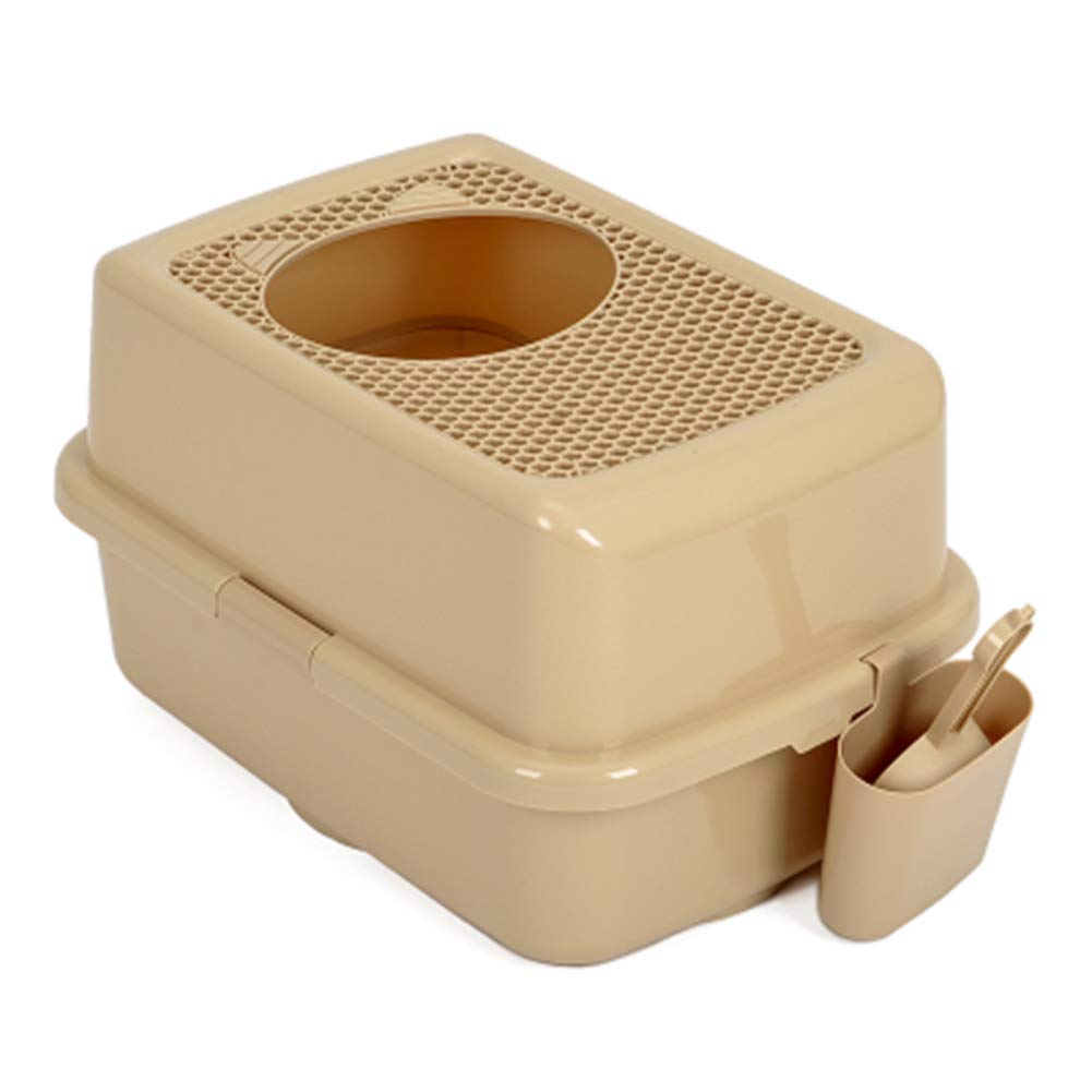 Brown 57.540.533cmPet litter box  Closed toilet top antisplashing and odorresistant extra large pet cat potty zipper supplies,Brown,57.5  40.5  33cm