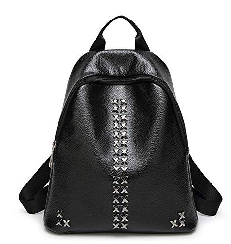 Skyseen Litchi Stria Rivet Backpacks Satchel Tote Purse Handbag Travel Daypack