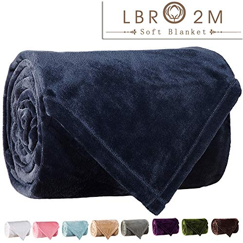 LBRO2M Fleece Bed Blanket Super Soft Warm Fuzzy Velvet Plush Throw Lightweight Cozy Couch Blankets Queen(90-Inch-by-90-Inch) Royal ()
