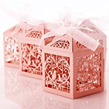 50pcs Bird Candy Gift Box with Ribbon Wedding Party Favors Decoration Pink