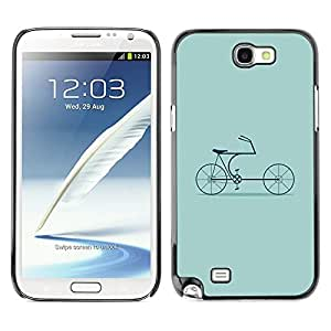 TopCaseStore / la caja del caucho duro de la cubierta de protección de la piel - Bike Green Hipster Culture Old - Samsung Galaxy Note 2 N7100