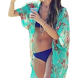 Chalier Womens Chiffon Bathing Suit Swimwear Bikini Swimsuit Beach Wear Cover up