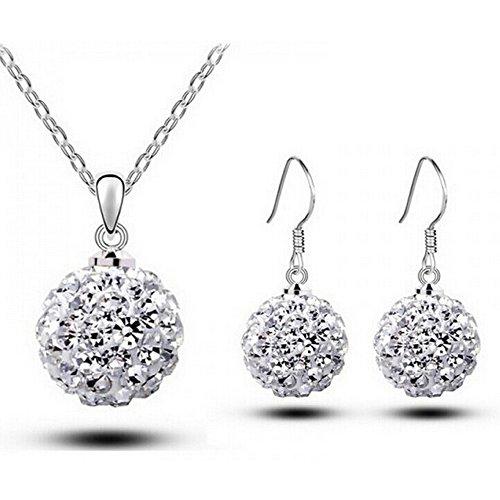 HSG Elegant Lady Crystal Jewelry Set Circle Shaped Round Necklace & Earring Studs Shiny Jewelry