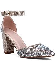 J.STIEN Women Ankle Strap D'Orsay Pointed Toe Block Heel Pump