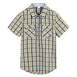 wisefin Boy's Fashion Short Sleeve Shirt Summer Casual Shirt for Kids 5-17years (Yellow Plaid, 7-9)