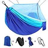 Camping Hammock with Net Mosquito, Parachute Fabric Camping Hammock Portable Nylon Hammock for Backpacking Camping Travel, Double Single Hammocks for Camping 110″(L) x 59″(W)