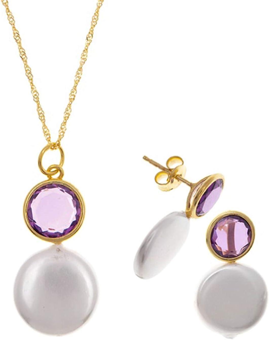 Córdoba Jewels | Conjunto de Gargantilla y Pendientes en Plata de Ley 925 bañada en Oro. Diseño Tú y Yo Perla Amatista Oro