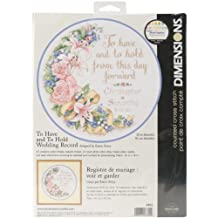 "To Have & To Hold Wedding Record Counted Cross Stitch Kit-12"" Round 14 Count"