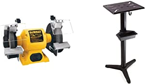 DEWALT Bench Grinder, 8-Inch (DW758) & WEN 4288 Cast Iron Bench Grinder Pedestal Stand with Water Pot