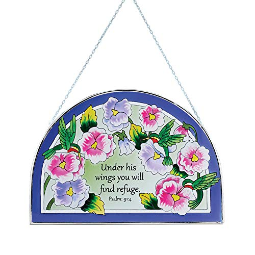 Collections Etc Under His Wings Suncatcher - Stained Glass Hummingbirds and Floral Religious Decoration for Outdoor or Indoor