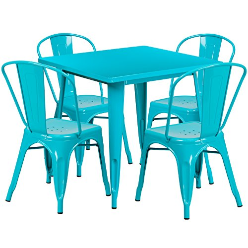 (Flash Furniture 31.5'' Square Crystal Teal-Blue Metal Indoor-Outdoor Table Set with 4 Stack Chairs)