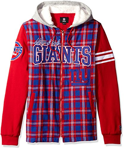 Nfl Football Jacket Hooded - New York Giants Flannel Hooded Jacket - Mens Extra Large