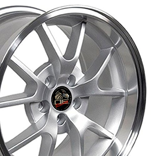 (OE Wheels 18 Inch Fits Ford Mustang 94-2004 FR500 Style FR05B 18x10/18x9 Rims Silver Machined Lip SET)