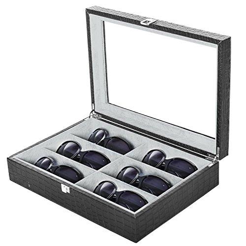 Faux Crocodile Skin 6 Pair Eyewear & Sunglasses Display Storage Case with Clear Lid, - Shades Organizer