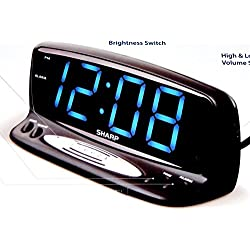 Sharp Blue Jumbo 2'' LED display Alarm Clock with snooze and Hi/lo dimmer options, Black