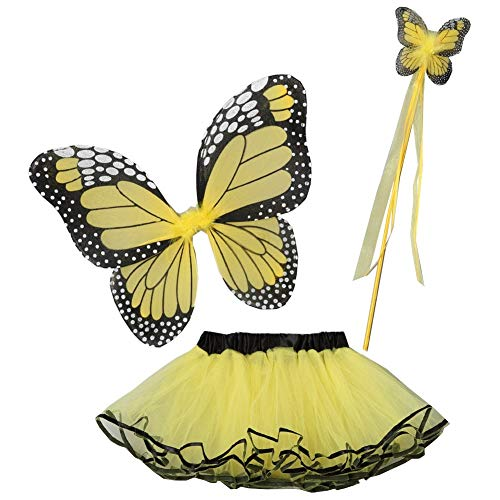 Butterfly Costumes For Babies (Little Girls Yellow Butterfly Wings Wand Halloween Tutu 3 Pcs Set)