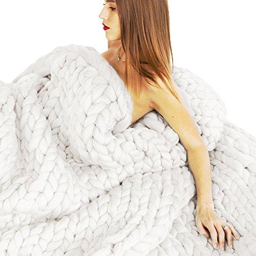 EASTSURE Chunky Knit Throw Bulky Merino Sofa Blanket Hand-Made Super Large Chair Mat Rug,White,32
