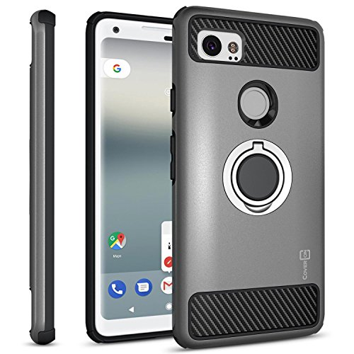 Google Pixel 2 XL Case with Ring, CoverON RingCase Series Protective Phone Case with Carbon Fiber Accents and Finger Ring Grip for Pixel 2 XL/2XL - Gunmetal Gray and Black