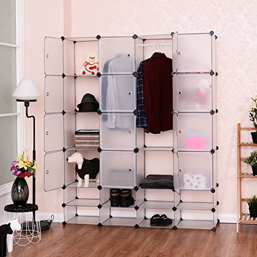 Costway DIY 16+8 Cube Portable Clothes Wardrobe Cabinet Closet Storage Organizer W/Doors by Costway DIY