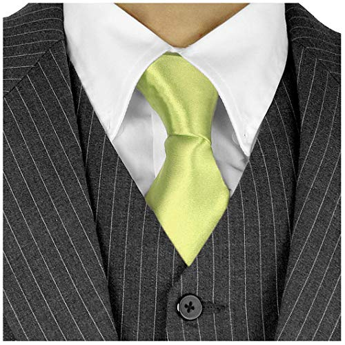 (Long Ties For Men 3in Satin Silk Finish Neck Ties Fashion Solid Color - Lime Green Neckties)