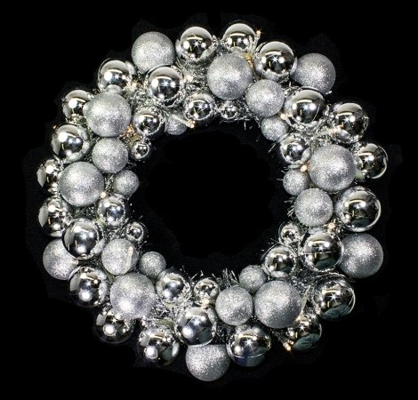 Winterland BAT-BWR-16-SLV-PW Silver Ball Wreath With Battery Powered Pure White Led