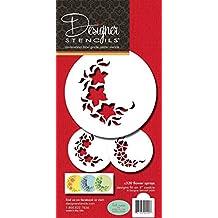 Designer Stencils C320 Flower Sprays Cake and Cookie Stencils, Beige/Semi-Transparent, Fits 4 & quart; circle