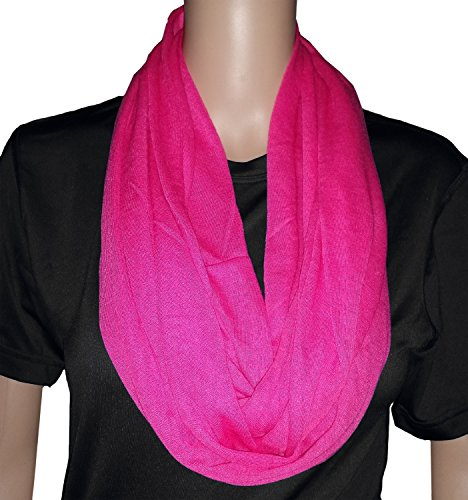 Solid Infinity Soft Polyester Scarf with Hidden Zipper Pocket (Pink)
