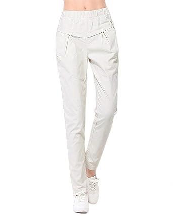 Printemps Eté Femme Elégante Mode Pantalons avec Poches Uni Manche Taille  Élastique Confortable Slim Fit Basic 3f3c905a2c8e